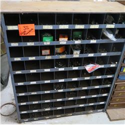 "72-Compartment Metal Shelving & Contents: Screws, Nuts, Bolts, Washers etc 36""W x 12""D x 42""H"