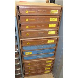 "Lawson Products 12 Drawer Cabinet & Contents: ""O' Rings, Screws, Fittings, Etc. (3 sections)"