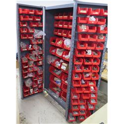 "3-Section Metal Cabinet w/ Plastic Bins & Contents: Fuses, Switches, Washers, etc. 38""W x 24""D x 71"""