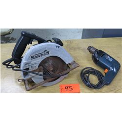 "Sears Craftsman Sawmill 7-1/4"" Circular Saw & Black & Decker Electric Driver"