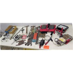 Multiple Misc Tools: Battery Tester, Knee Pads, Husky Light, Hand Tools, etc