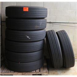 Qty 6 Good Year G661 HAS Tires (No Rims), Qty 1 Firestone Tire w/Rim, Qty 1 Continental Tire w/Rim