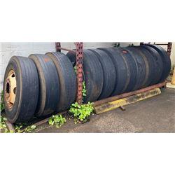 Qty 11 Dunlap SP348 Tires with Rims, 12R22.5 150/147