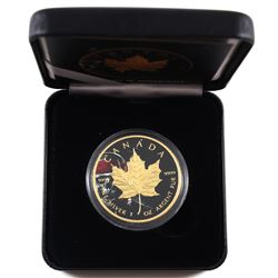 2018 Canada 1oz Coloured & Gilded Pirate Skull .9999 Fine Silver Maple Leaf Encapsulated in Smitty's