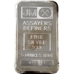 Scarcer 5oz Blank Back Johnson Matthey .999 Fine Silver Bar (TAX Exempt).