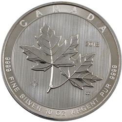 2018 Canada $50 10oz Magnificent Maple Leaves Fine Silver Coin (lightly toned). TAX Exempt. Issued b