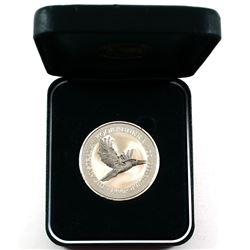 1996 Australia 1oz .999 Fine Silver Kookaburra in Green Perth Mint Display Box (box a bit tattered).