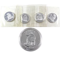 4x 2006 Canada 1/2oz Wolves Sealed in Original Mint Plastic & 2011 1oz Wolf in Capsule .9999 Fine Si