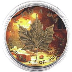 2015 Canada 1oz Coloured, Gilded & Antiqued .9999 Fine Silver Maple Leaf in Capsule (TAX Exempt).