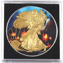 2014 USA 1oz Coloured & Gilded .999 Fine Silver Eagle in Capsule (TAX Exempt).