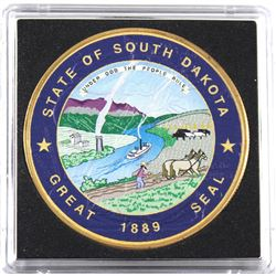 2017 USA 1oz Coloured & Gilded State of South Dakota Great Seal .999 Fine Silver Eagle in Capsule (T