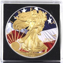 2017 USA 1oz Coloured & Gilded American Flag .999 Fine Silver Eagle in Capsule (TAX Exempt).