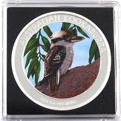 2014 Australia 1oz Coloured .999 Fine Silver Kookaburra in Capsule (TAX Exempt).