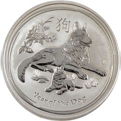 2018 Australia $8 Year of the Dog 5oz .9999 Fine Silver Coin (Toned). TAX Exempt.