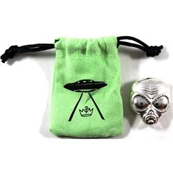 Monarch Precious Metals - Alien Head 2oz .999 Silver in Green Cloth Drawstring Bag (TAX Exempt).