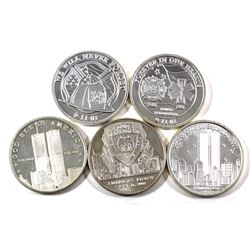 5x September 11, 2001 1oz .999 Fine Silver Rounds of Different Designs. 5pcs (TAX Exempt)
