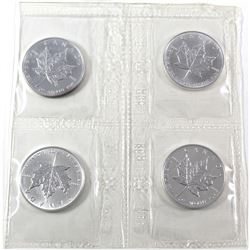 4 x 1990 Canada 1oz .9999 Fine Silver Maple Leafs in Original Plastic Mint Sheet. 4pcs (TAX Exempt)