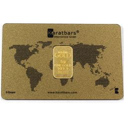 Gold Karatbar 5 Gram .9999 Fine Gold Bar in Hard Plastic Holder (TAX Exempt).