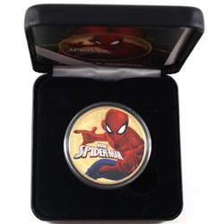 2017 Tuvalu 1oz Coloured & Gilded Marvel Spiderman .9999 Fine Silver Coin in Smitty's Treasures Blac