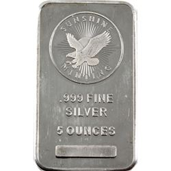 5oz Sunshine Minting .999 Fine Silver Bar (some scratches). TAX Exempt.