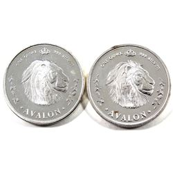 PAIR OF SCARCE 'Avalon - In Freedom's Name' 1oz .999 Fine Silver Rounds. One says 'Luminosus Vitaae'