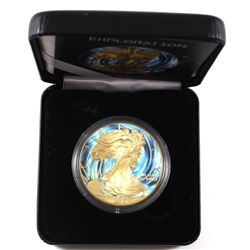 2015 USA 1oz Coloured & Gilded 'Exploration' .999 Fine Silver Eagle in Smitty's Treasures Black Disp