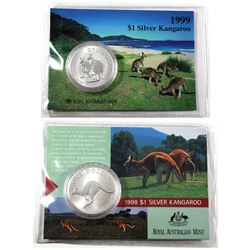1998 & 1999 Australia $1 1oz .999 Fine Silver Kangaroos Encapsulated in Cardboard Royal Australian M