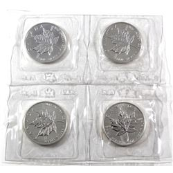 4 x 1988 Canada 1oz .9999 Fine Silver Maple Leafs in Original Sealed Mint Plastic Sheet. 4pcs (TAX E