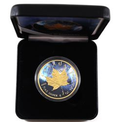 2018 Canada 1oz Coloured & Gilded Wolf .9999 Fine Silver Maple in Smitty's Treasures Black Display B