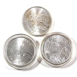 3 x 1oz Silver Shield .999 Fine Silver Rounds - 2013 Peace On Earth, 2014 Never Trust Government & 2