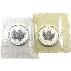 2007 Pig & 2009 Ox Canada 1oz .9999 Fine Silver Privy Maple Leafs in Original Sealed Mint Plastic. 2