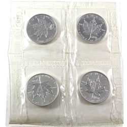 4 x 2000 Canada 1oz Fireworks Privy .9999 Fine Silver Maple Leafs in Original Sealed Mint Plastic Sh