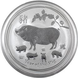 2019 Australia 10oz Year of the Pig .9999 Fine Silver Coin (light scratches capsule). TAX Exempt.
