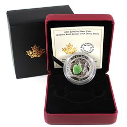 2017 Canada $20 Brilliant Birch Leaves with Drusy Stone Fine Silver Coin (TAX Exempt). Issued by the
