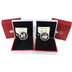 2018 Canada $15 Zodiac Year of the Dog & 2019 $15 Zodiac Year of the Pig Fine Silver Coins (capsules