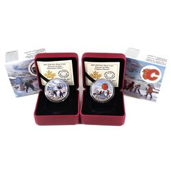 2017 Canada $10 Passion to Play - Edmonton Oilers & Calgary Flames Fine Silver Coins. 2pcs (TAX Exem