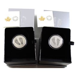 2017 & 2018 Canada $10 Welcome to the World Baby Feet Fine Silver Coins (2018 capsule is lightly scr