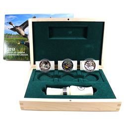 2013-2014 $10 Ducks of Canada 3-coin Fine Silver Set with Caller in Deluxe Box. One of the capsules