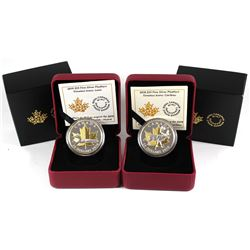 Pair of Canada $25 Timeless Icons - 2018 Piedfort Caribou & 2019 Loon Fine Silver Coins. 2pcs (TAX E