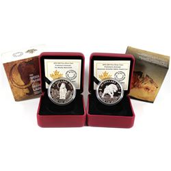 2014 Canada $20 Prehistoric Animals - The Woolly Mammoth & 2015 American Scimitar Sabre-Tooth Cat Fi