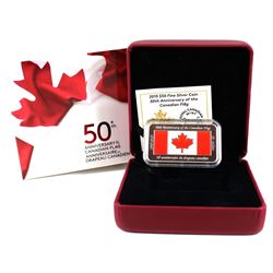 2015 $50 50th Anniversary Canadian Flag Fine Silver Rectangular Coin (TAX Exempt).