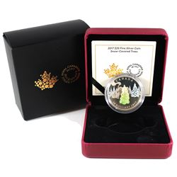 2017 Canada $20 Snow Covered Trees with Murano Glass Fine Silver Coin (lightly toned). TAX Exempt.