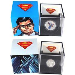 2013 Canada $15 Modern Day Superman 1/2oz & 2013 Canada $10 Vintage Superman 1/4oz Fine Silver Coins