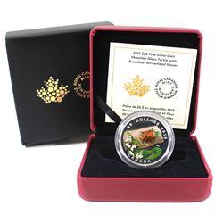 2015 Canada $20 Venetian Glass Turtle & Broadleaf Flower Fine Silver Coin (TAX Exempt).