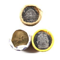 Canada Original Rolls - 1963 5-cent, 2010 50-cents & 1987 Loon $1 (1987 Roll is taped). 3 Rolls.