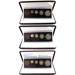 1917, 1918 & 1919 Canada 5-coin (1-cent, 5-cent, 10-cent, 25-cent, 50-cent) Decimal Sets in Hard Pla
