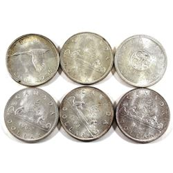 Group Lot of 1962-1967 Canada Silver $1 All Years Included. 6pcs.