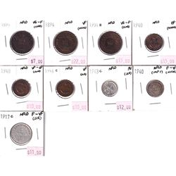 Lot of 1894-1944 Newfoundland Coinage (scratches, cleaned or impaired) 9pcs.