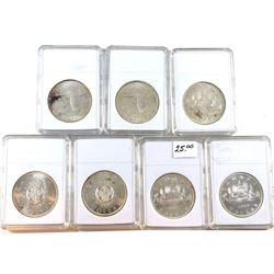 Estate Lot of Canada Silver $1 in Hard Plastic Holders - 1962, 2x 1964, 2x 1965 & 2x 1967. 7pcs.