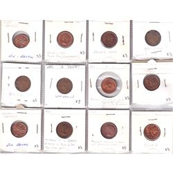 Estate Lot of Canada 1-cent with Minor Errors & Varieties. 12pcs.